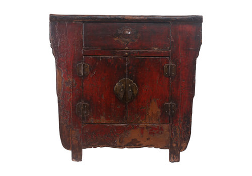 Fine Asianliving Fine Asianliving Small Antique Chinese Cabinet Dark Red