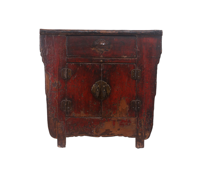 Fine Asianliving Kleine Antieke Chinese Kast Donker Rood