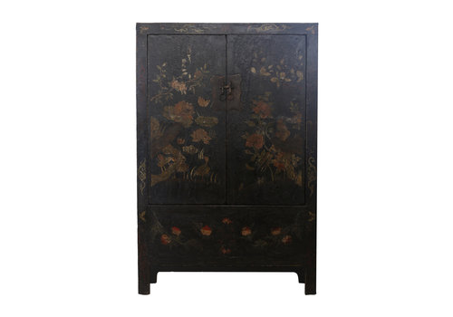 Fine Asianliving Antique Chinese Bridal Cabinet Black Flowers - Beijing, China