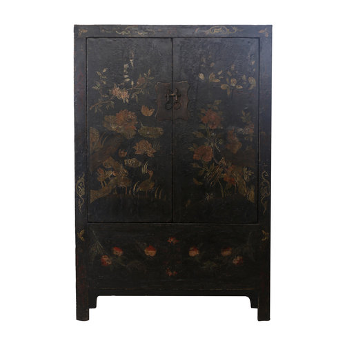 Fine Asianliving Antique Chinese Bridal Cabinet Black Flowers - Beijing