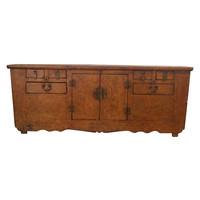 Antique Low Chinese Sideboard Brown Pattern - Zhejiang, China