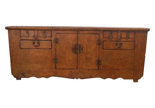 Fine Asianliving Antieke Chinese Laag Dressoir Bruin Patroon - Zhejiang, China