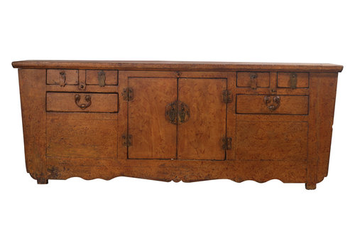 Fine Asianliving Antique Low Chinese Sideboard Brown Pattern - Zhejiang, China