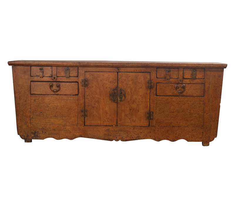 Fine Asianliving Antique Low Chinese Buffet Brown Pattern - Zhejiang