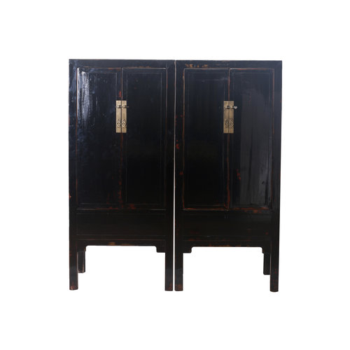Fine Asianliving Antique Chinese Bridal Cabinet Set Black - Beijing, China