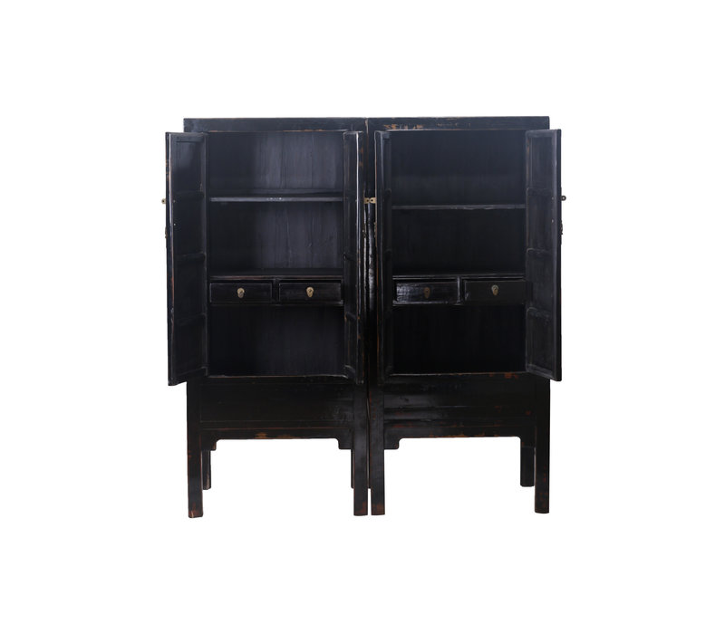Fine Asianliving Antique Chinese Wedding Cabinet Set/2 Black - each W84xD60xH184cm