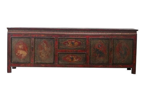 Fine Asianliving Fine Asianliving Antieke Tibetaanse Kast Handgegraveerde Dieren - Tibet, China