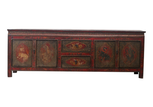 Fine Asianliving Fine Asianliving Antique Tibetan Cabinet Handcrafted Animals - Tibetan, China