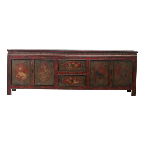 Fine Asianliving Antique Tibetan Cabinet Handcrafted Animals - Tibetan, China