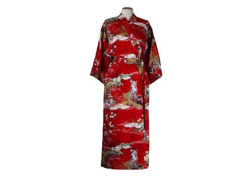 Fine Asianliving Fine Asianliving Japanse Yukata Kimono Rood Geisha Handmade Japan