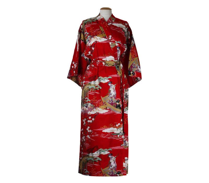 Fine Asianliving Japanse Yukata Kimono Rood Geisha Handmade Japan