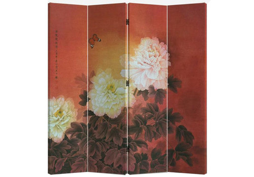 Fine Asianliving Fine Asianliving Room Divider Privacy Screen 4 Panel Chinese Peonies L160xH180cm