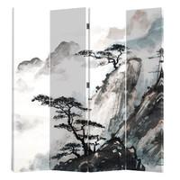 Biombo Separador de Lienzo Chino 4 Paneles Montañas Chinas Anch.160 x Alt.180 cm