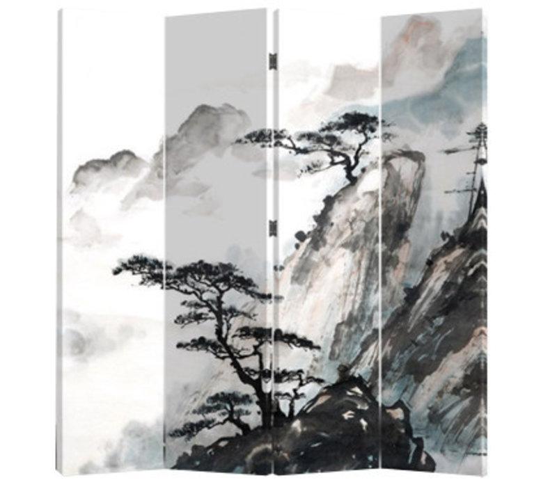 Paravent en Toile L160xH180cm 4 Panneaux Montagne Chinoise