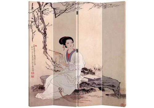Fine Asianliving Oriental Room Divider 4 Panelen Chinese Lady (160x180cm)