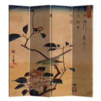 Chinees Kamerscherm Oosters Scheidingswand 4 Panelen Vogel en Lotusbloemen Vintage L160xH180cm