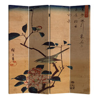Chinese Oriental Room Divider Folding Privacy Screen 4 Panels W160xH180cm Bird and Lotus Flowers Vintage