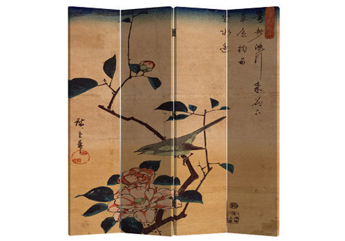 Fine Asianliving Chinese Oriental Room Divider Folding Privacy Screen 4 Panels W160xH180cm Bird and Lotus Flowers Vintage