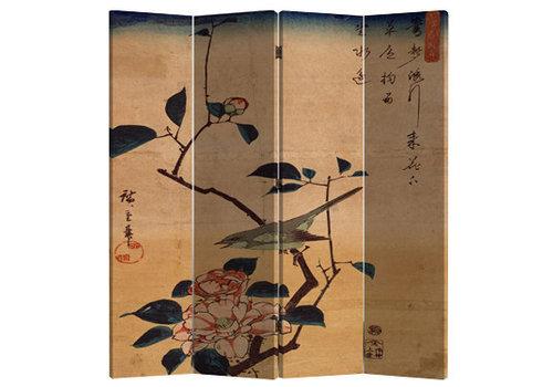 Fine Asianliving Paravent en Toile L160xH180cm 4 Panneaux Oiseaux et Fleurs de Lotus