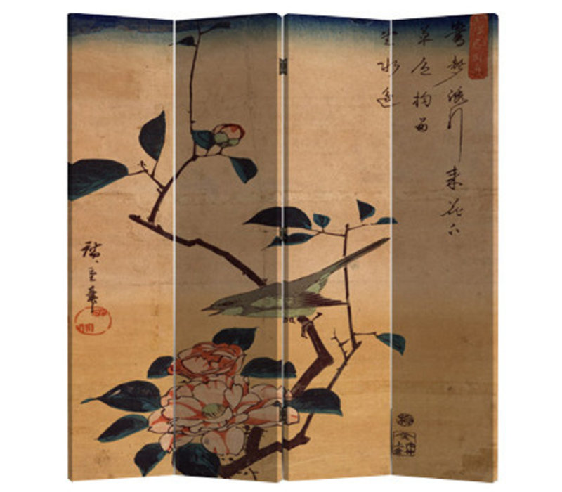 Chinees Kamerscherm Oosters Scheidingswand B160xH180cm 4 Panelen Vogel en Lotusbloemen Vintage