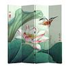 Fine Asianliving Fine Asianliving Chinees Kamerscherm Oosters Scheidingswand 4 Panelen Lotus en Vliegende Vogel L160xH180cm