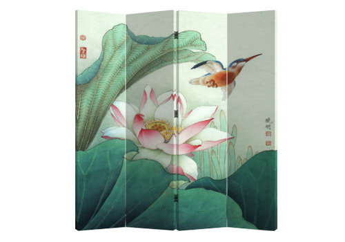 Fine Asianliving Fine Asianliving Room Divider Privacy Screen 4 Panel Lotus and Flying Bird (160x180cm)