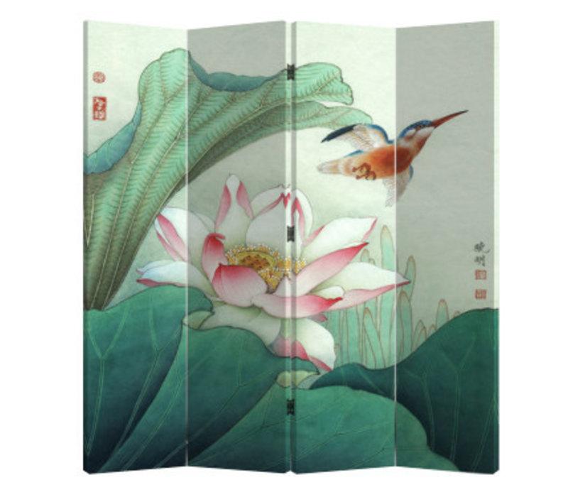 Fine Asianliving Kamerscherm Scheidingswand 4 Panelen Lotus en Vliegende Vogel (160x180cm)