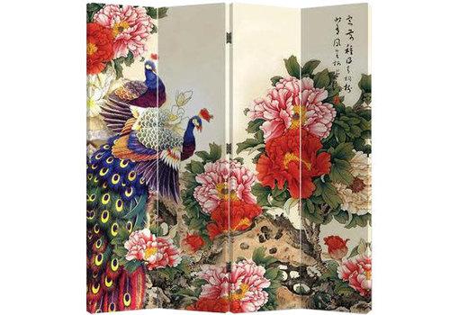 Fine Asianliving Fine Asianliving Chinees Kamerscherm Oosters Scheidingswand 4 Panelen Twee Pauwen met Pioenen L160xH180cm