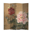 Fine Asianliving Fine Asianliving Room Divider 4 Panel Mudan and Butterflies Vintage  L160xH180cm