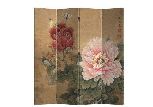 Fine Asianliving Biombo Separador de Lienzo Chino 4 Paneles Peonía y Mariposas Vintage Anch.160 x Alt.180 cm