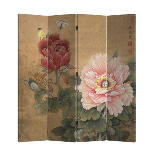 Fine Asianliving Chinees Kamerscherm 4 Panelen Mudan en Vlinders Vintage (160x180cm)