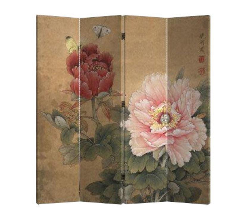 Chinees Kamerscherm Oosters Scheidingswand B160xH180cm 4 Panelen Mudan en Vlinders Vintage