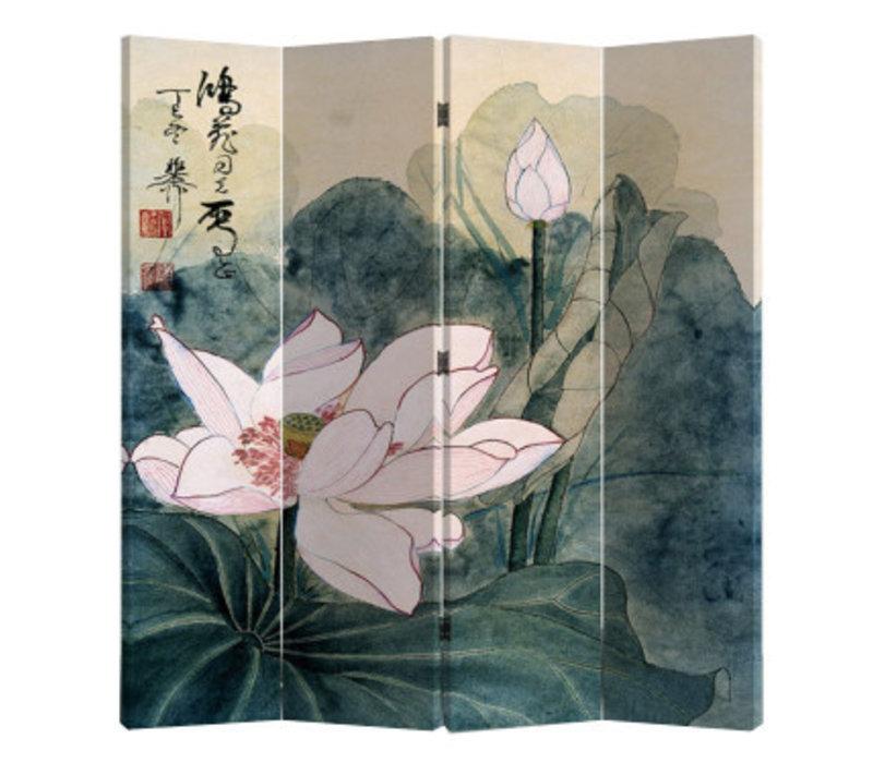 Fine Asianliving Chinees Kamerscherm Oosters Scheidingswand 4 Panelen Retro Lotus L160xH180cm