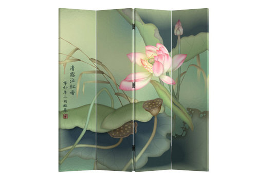 Fine Asianliving Chinese Oriental Room Divider Folding Privacy Screen 4 Panel Lotuspond L160xH180cm