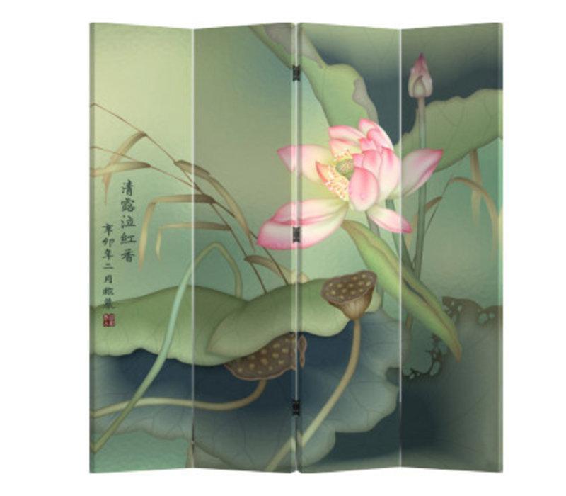 Fine Asianliving Chinees Kamerscherm Oosters Scheidingswand 4 Panelen Lotuspond L160xH180cm