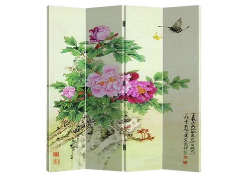 Fine Asianliving Fine Asianliving Room Divider Privacy Screen 4 Panel Pink Chinese Peonies