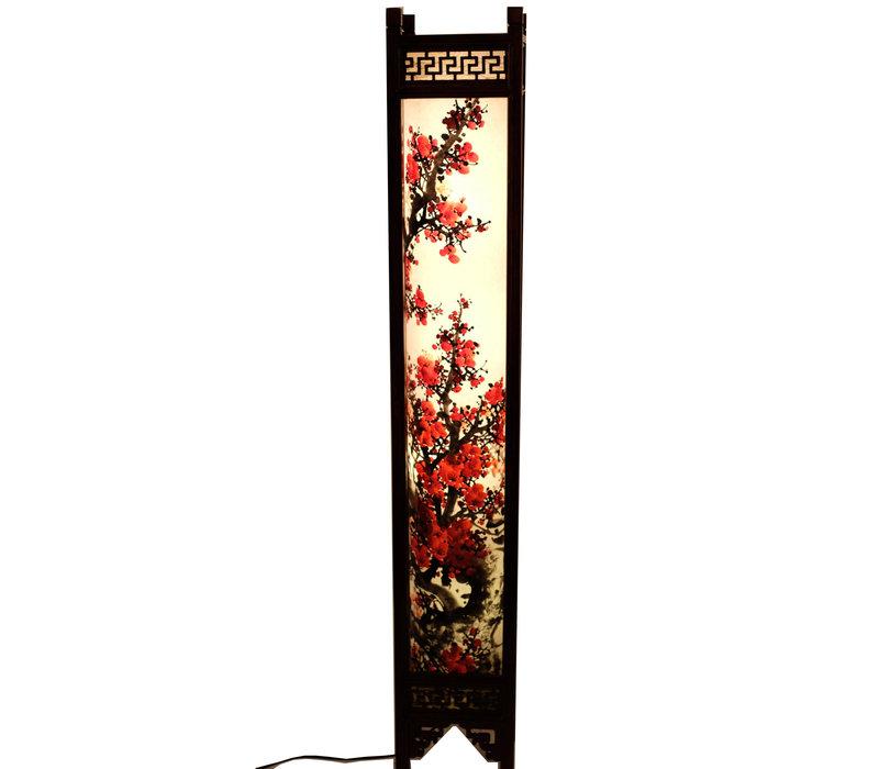 Fine Asianliving Japanse Vloerlamp Rijstpapier Handbeschilderde Sakura