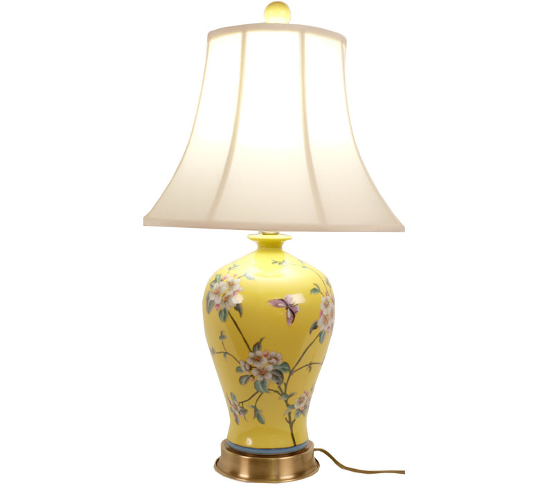 Fine Asianliving Oosterse Tafellamp Porselein Handbeschilderd Geel