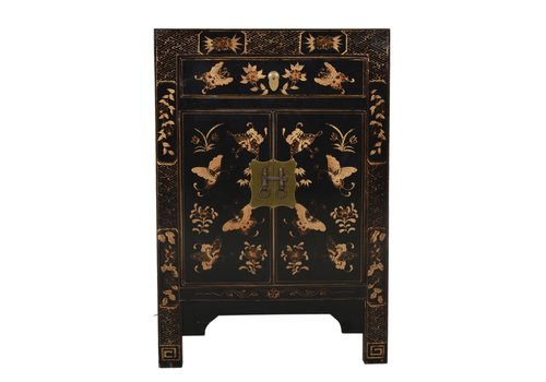 Fine Asianliving Fine Asianliving Chinese Night Stand Handpainted Golden Butterflies Black