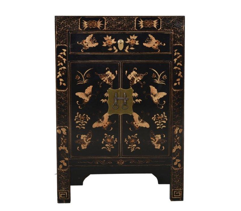 Fine Asianliving Chinees Nachtkastje Handgetekende Gouden Vlinders Zwart