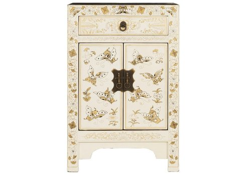 Fine Asianliving Chinese Bedside Table W40xD32xH60cm Handpainted Butterflies White