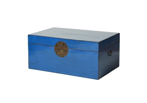 Fine Asianliving Chinese Trunk Glassy Sea Blue (1910-1920) 20th Century Beijing-China