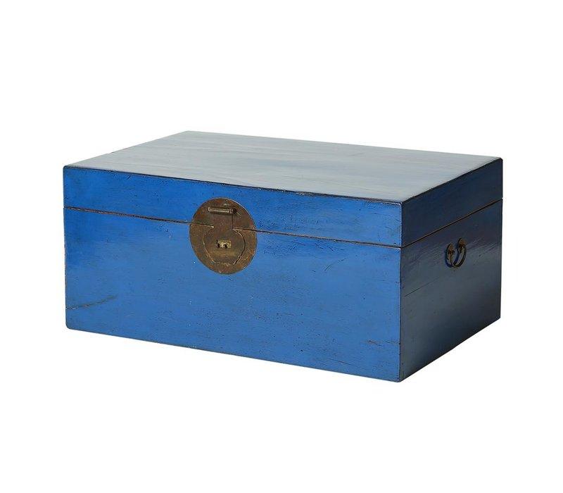 Caja Cofre de Almacenamiento Chino Antiguo Azul (1910-1920) Siglo 20 - Beijing, Chino