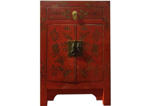 Fine Asianliving Fine Asianliving Chinees Nachtkastje Handgetekende Gouden Vlinders Rood