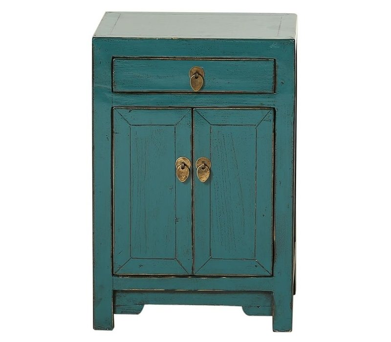 Fine Asianliving Chinese Night Stand Glossy Teal