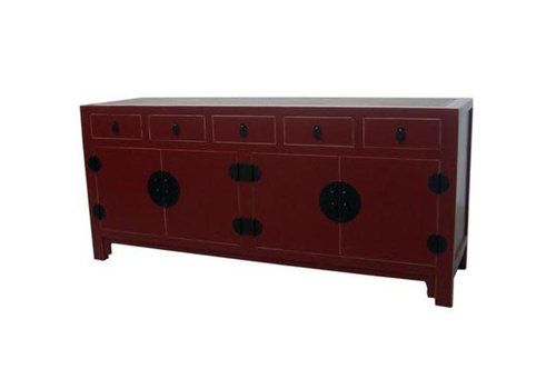 Fine Asianliving Chinese Sideboard Braided Bamboo White Drawers Red