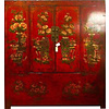Fine Asianliving Antique Chinese Tibetan Cabinet Hand-painted Red