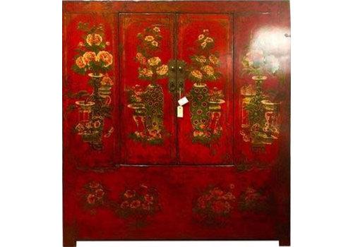 Fine Asianliving Antiker Tibetanischer Schrank Handbemalt Rot