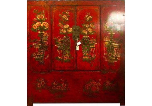 Fine Asianliving Armario Tibetano Antiguo Pintado a Mano Rojo