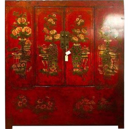 Antieke Chinese Tibetaanse Kast Handbeschilderd Rood
